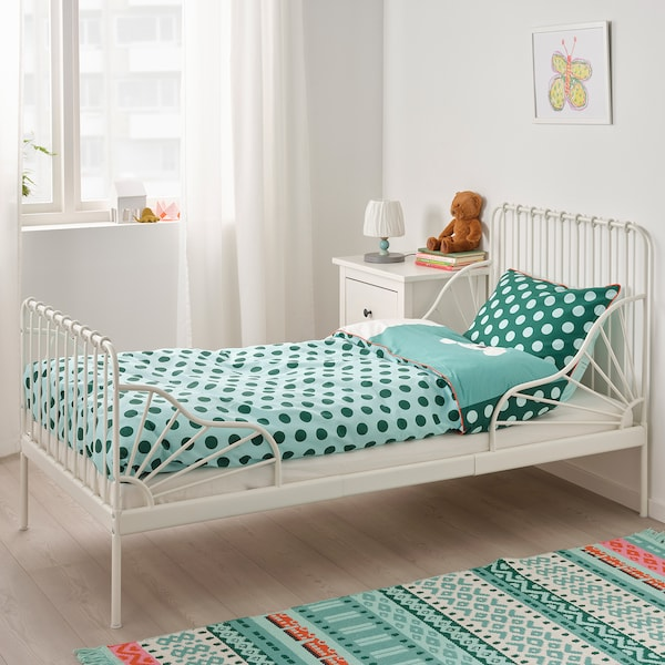 MINNEN Estrut cama ext c/estrado ripas, branco, 80x200 cm