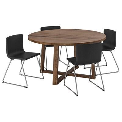 MÖRBYLÅNGA / BERNHARD Mesa e 4 cadeiras, chapa de carvalho velatura castanha/Mjuk castanho escuro, 145 cm
