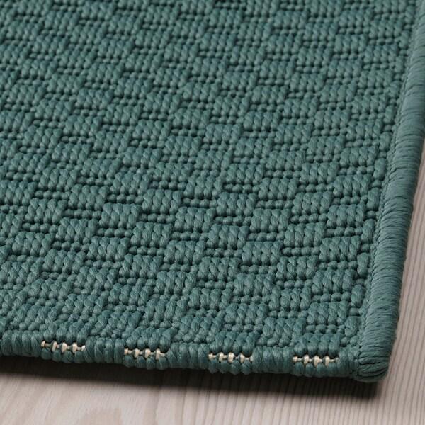 MORUM Tapete tecelag plana, int/exterior, cinz/turquesa, 80x200 cm