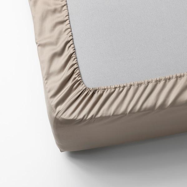 NATTJASMIN Lençol de baixo ajustável, bege claro, 90x200 cm