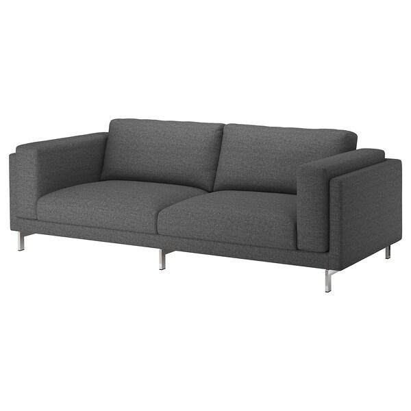 NOCKEBY Capa p/sofá de 3 lugares, Lejde cinz esc