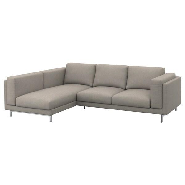 NOCKEBY Pés p/sofá 3 lug c/chaise longue, cromado