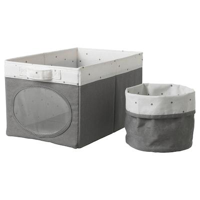 NÖJSAM Caixa e cesto, cinz, 25x37x22 cm