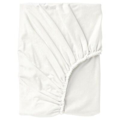 NORDRUTA Lençol de baixo ajustável, branco, 90x200 cm