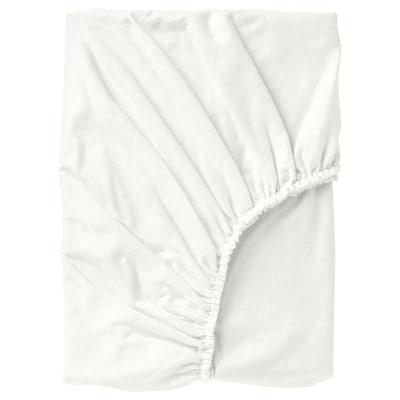 NORDRUTA Lençol de baixo ajustável, branco, 180x200 cm