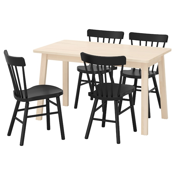 NORRÅKER / NORRARYD Mesa e 4 cadeiras, bétula/preto, 125x74 cm