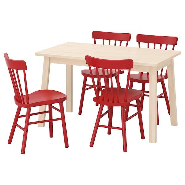 NORRÅKER / NORRARYD Mesa e 4 cadeiras, bétula/verm, 125x74 cm
