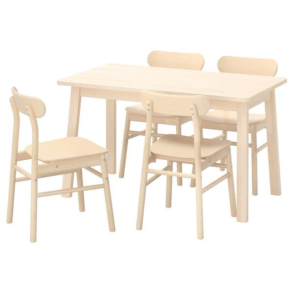 NORRÅKER / RÖNNINGE Mesa e 4 cadeiras, bétula/bétula, 125x74 cm