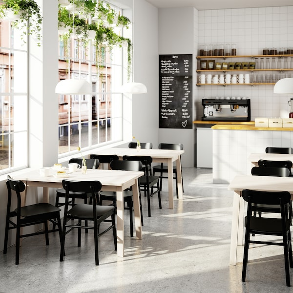 NORRÅKER / RÖNNINGE Mesa e 4 cadeiras, bétula/preto, 125x74 cm