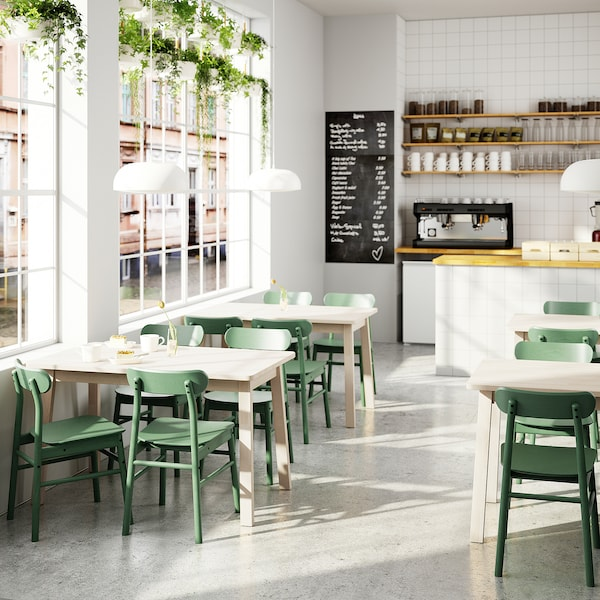 NORRÅKER / RÖNNINGE Mesa e 4 cadeiras, bétula/verde, 125x74 cm