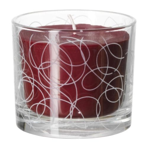 NORRESKOG Vela perfumada em copo, verm Altura: 8 cm Duração: 30 h