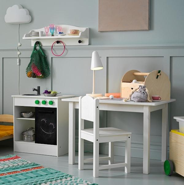 NYBAKAD Cozinha brincar c/porta deslizante, branco, 49x30x50 cm