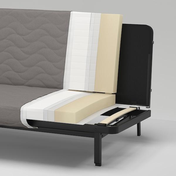 NYHAMN Sofá-cama 3 lugares, c/colchão de espuma/Knisa cinz/bege