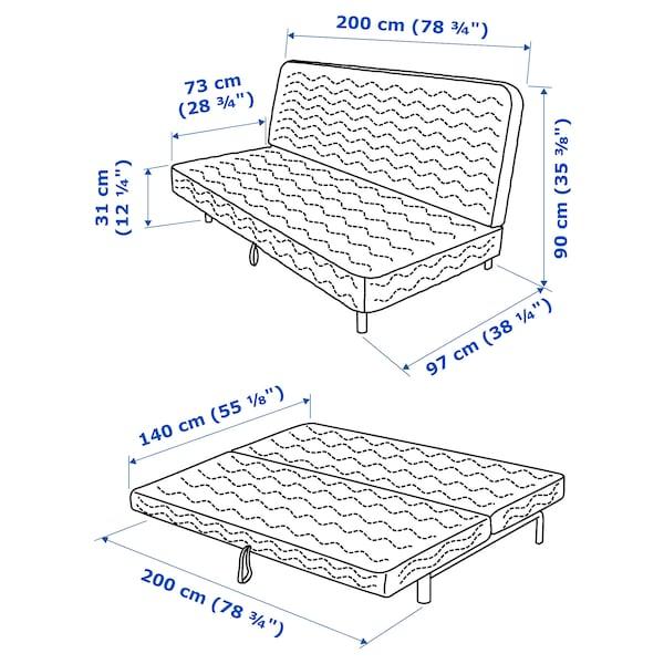 NYHAMN Sofá-cama c/3 almofadas, c/colchão de espuma/Skiftebo azul