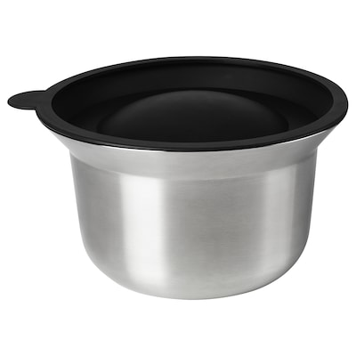 OMTÄNKSAM Tigela c/tampa, aço inoxidável/cinz clr, 2.5 l