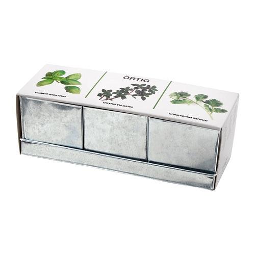 ÖRTIG Comb ervas aromátic 1 tabul 3 vasos IKEA Contém tudo o que é necessário para plantar 3 ervas aromáticas.