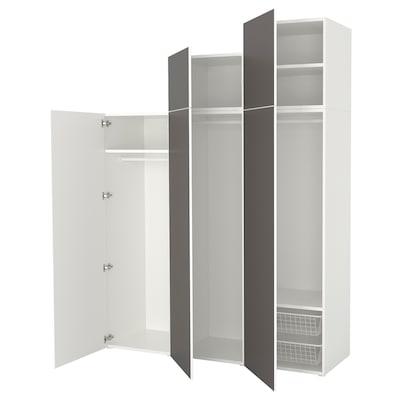 PLATSA Roupeiro, branco/Skatval cinz esc, 180x57x241 cm