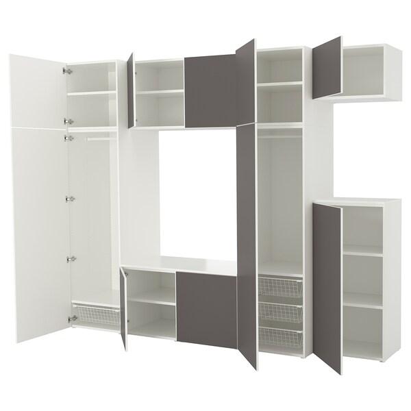 PLATSA Roupeiro, branco/Skatval cinz esc, 300x57x243 cm