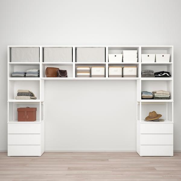 PLATSA Roupeiro c/7portas+6gavetas, branco/Fonnes branco, 300x42x201 cm