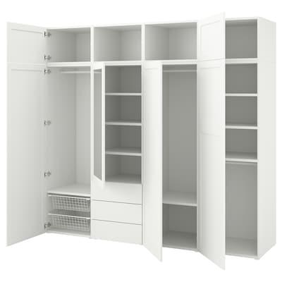 PLATSA roupeiro c/7 portas+3 gavetas branco/Sannidal Ridabu 240 cm 57 cm 221 cm