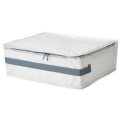 PLUGGHÄST Caixa de arrumação, c/padrão branco/transparente, 55x49x19 cm