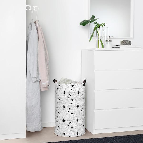 PLUMSA Saco p/roupa, branco/preto, 60 l