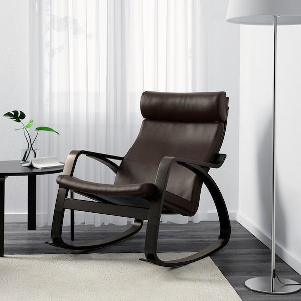 POÄNG cadeira de baloiço pret-cast/Glose castanho escuro 68 cm 94 cm 95 cm 56 cm 50 cm 45 cm