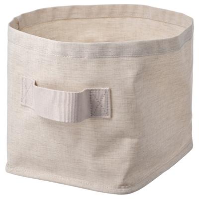 PURRPINGLA Cesto p/arrumação, têxtil/bege, 25x20x20 cm