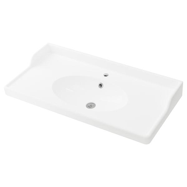 RÄTTVIKEN Lavatório individual, branco, 102x49x6 cm