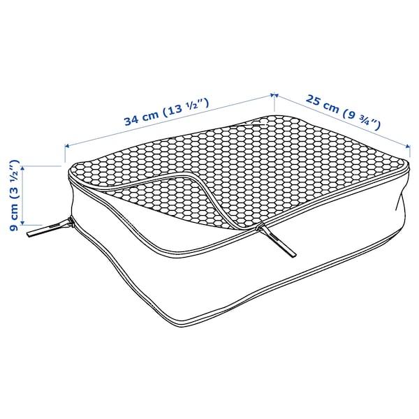 RENSARE Saco p/roupa c/compart, padrão xadrez/branco