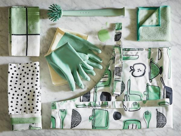 RINNIG Luvas p/limp, verde, M