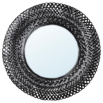 RISBYGD Espelho, bambu/preto, 50 cm