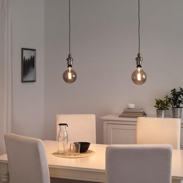 ROLLSBO Lâmpada LED E27 200 lúmens, intensidade regulável/globo vidro cinzento transparente, 125 mm