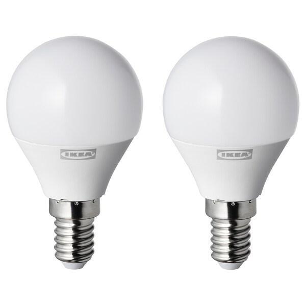 RYET Lâmpada LED E14 250 lúmenes, globo branco opala, 2 unidades
