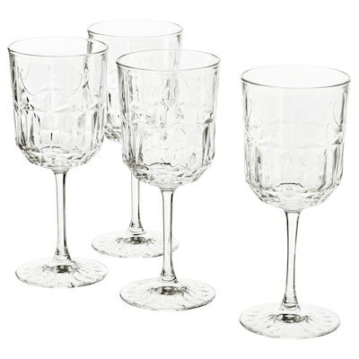 SÄLLSKAPLIG Copo de vinho, vidro transparente/c/padrão, 27 cl