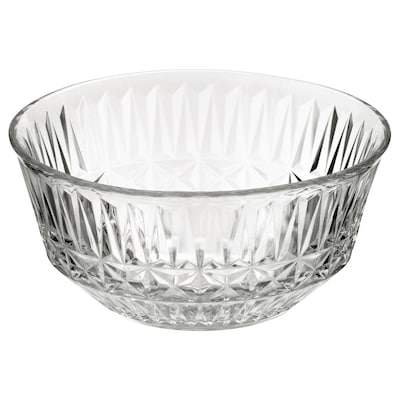 SÄLLSKAPLIG Tigela, vidro transparente/c/padrão, 15 cm