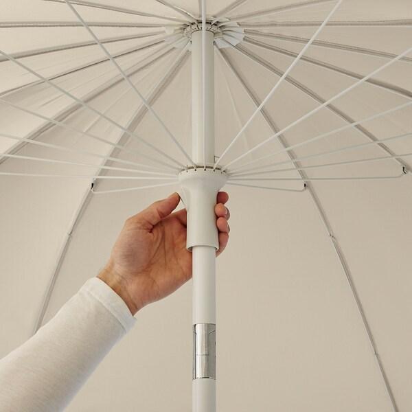 SAMSÖ Guarda-sol c/base, bege/Grytö cinz esc, 200 cm