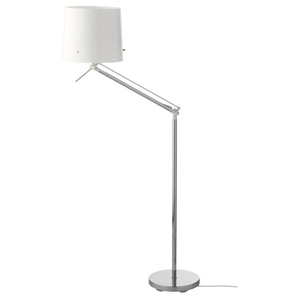 SAMTID candeeiro de pé/leitura niquelado/branco 100 W 152 cm 27 cm 29 cm 1.8 m