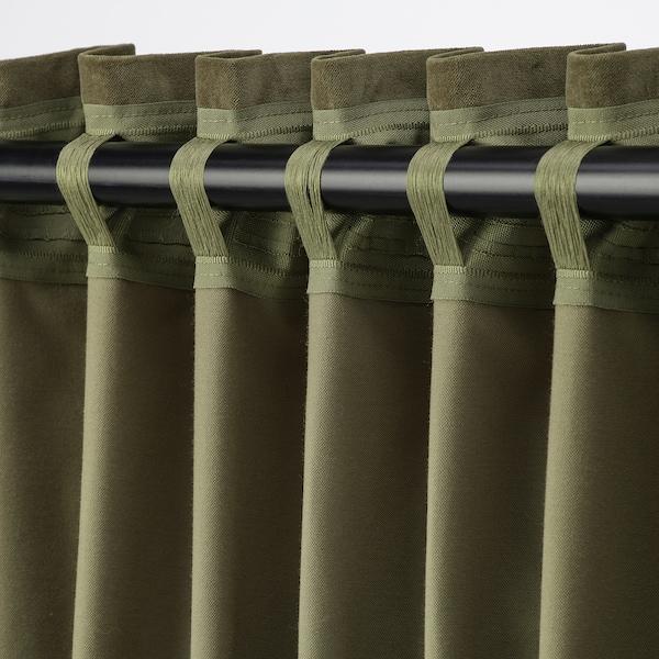 SANELA Cortinados semiopacos, par, verde azeitona, 140x300 cm