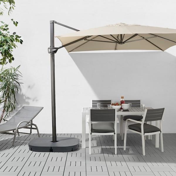 SEGLARÖ Guarda-sol suspenso, bege/inclinável, 330x240 cm