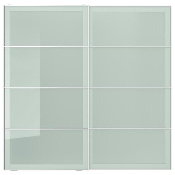 SEKKEN Par de portas deslizantes, vidro fosco, 200x201 cm