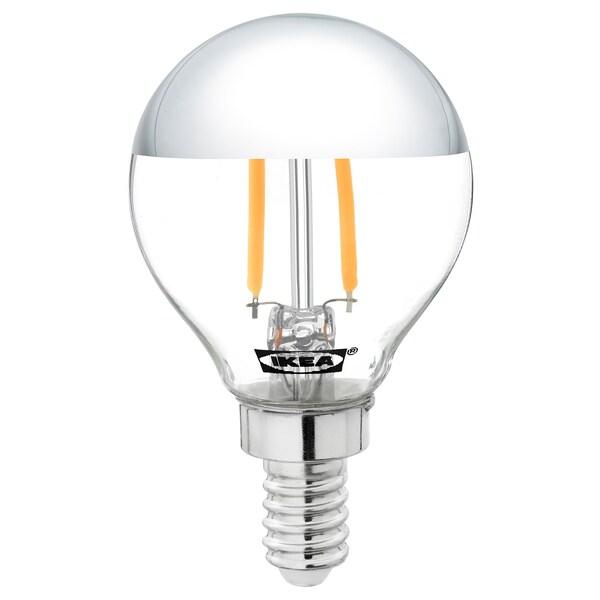 SILLBO Lâmpada LED E14 140 lúmenes, globo/topo prateado espelhado, 45 mm