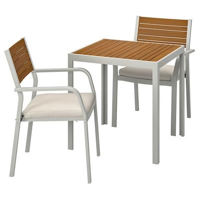 SJÄLLAND Mesa+2 cadeiras c/braços, exterior, castanho claro/Frösön/Duvholmen bege, 71x71x73 cm