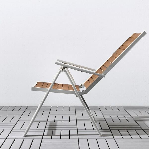SJÄLLAND Mesa+6 cadeiras reclin, exterior, castanho claro/Kuddarna cinz, 156x90 cm