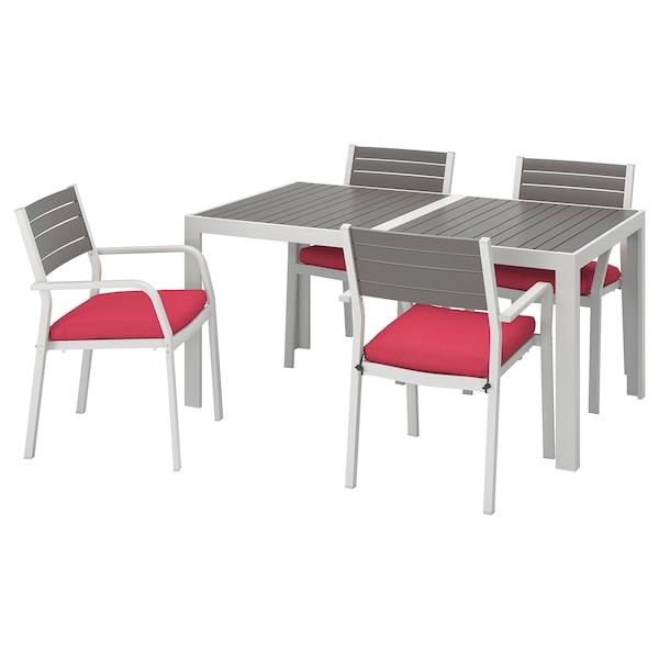 SJÄLLAND mesa+4 cadeiras c/braços, exterior