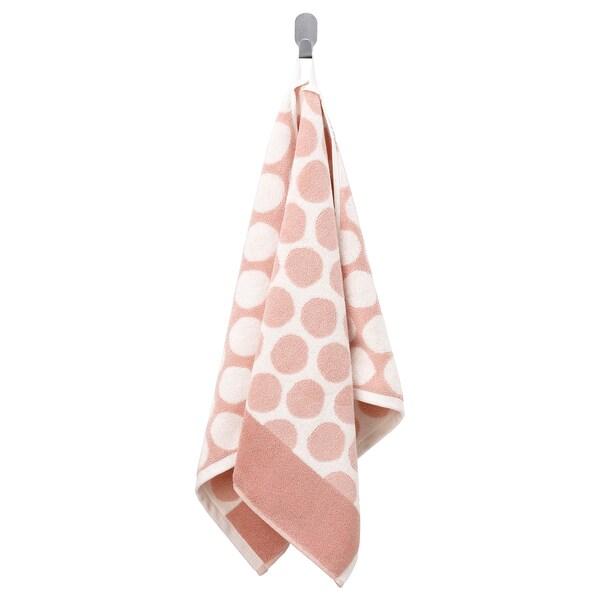 SJÖVALLA Toalha de mãos, rosa claro/branco, 50x100 cm