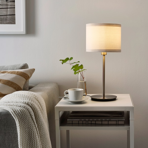 SKAFTET Base p/candeeiro mesa, niquelado, 30 cm