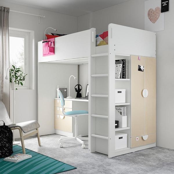 SMÅSTAD Cama alta, branco bétula/com secretária c/4 gavetas, 90x200 cm