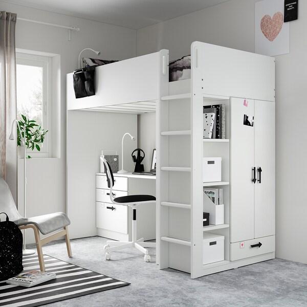 SMÅSTAD Cama alta, branco branco/com secretária c/4 gavetas, 90x200 cm