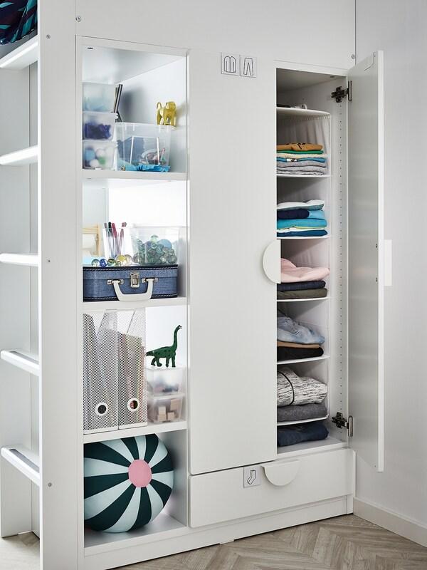 SMÅSTAD Cama alta, branco com moldura/com secretária c/4 gavetas, 90x200 cm